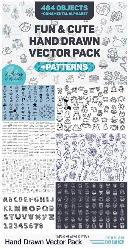 دانلود مجموعه وکتور عناصر طراحی کارتونی بامزه - Fun And Cute Hand Drawn Vector Pack