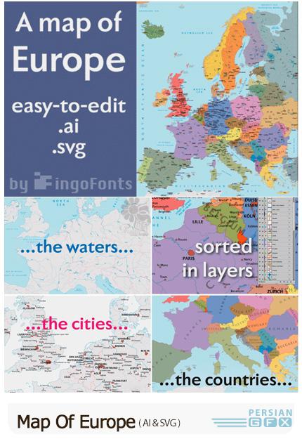 دانلود نقشه اروپا با جزییاتی مانند نقشه راه ها، مسیر آب ها، شهرها و.. - Map Of Europe