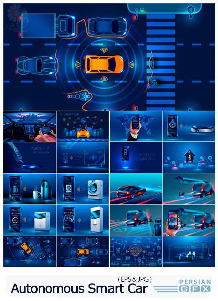 دانلود وکتور ماشین و وسایل هوشنمد اتوماتیک - Autonomous Smart Car