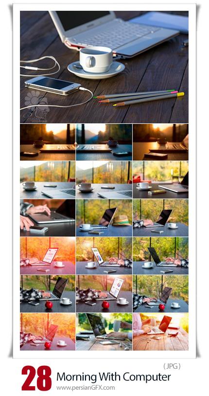 دانلود 28 عکس از صحنه کار با لب تاپ - Morning Composition With Computer
