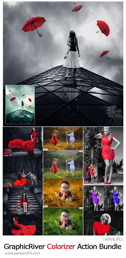 دانلود مجموعه اکشن فتوشاپ با 3 افکت تغییر رنگ تصاویر از گرافیک ریور - GraphicRiver Colorizer Action Bundle