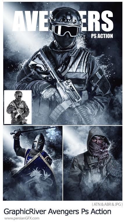 دانلود اکشن فتوشاپ ایجاد افکت جنگی و اکشن بر روی تصاویر از گرافیک ریور - GraphicRiver Avengers Photoshop Action