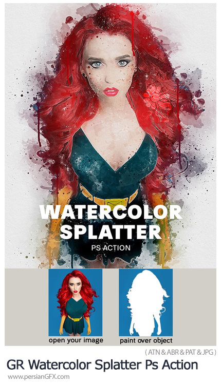 دانلود اکشن فتوشاپ ایجاد افکت لکه های آبرنگی پاشیده شده به همراه آموزش ویدئویی - GraphicRiver Watercolor Splatter Photoshop Action