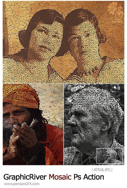 دانلود اکشن فتوشاپ تبدیل تصاویر به طرح موزاییکی از گرافیک ریور - GraphicRiver Mosaic Photoshop Action