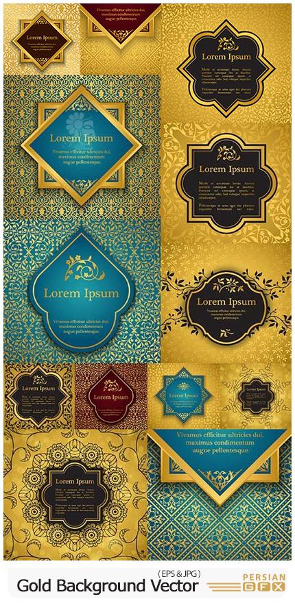 دانلود وکتور بک گراندهای طلایی با طرح های اسلیمی - Gold Background Vector