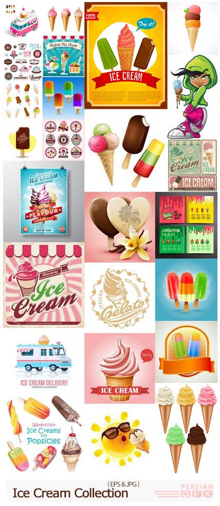 دانلود وکتور بستنی های متنوع میوه ای، شکلاتی، قیفی، چوبی و ... - Ice Cream Collection