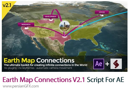 دانلود اسکریپت Earth Map Connections V2.1 برای افتر افکت به همراه آموزش ویدئویی - Earth Map Connections V2.1 Script For After Effect