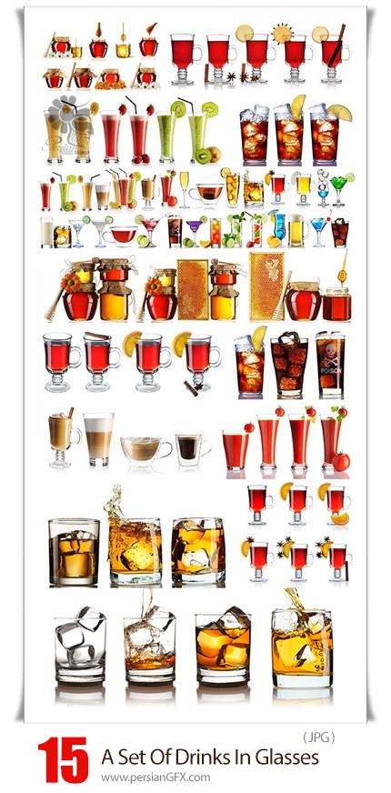 دانلود 15 عکس با کیفیت نوشیدنی های مختلف در لیوان - A Set Of Drinks In Glasses