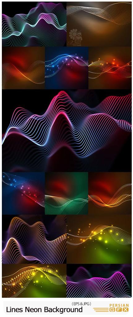 دانلود وکتور بک گراند های خطوط نئونی درخشان - Bright Lines Neon Background Decorative Abstract