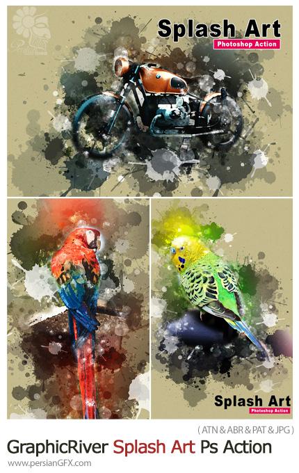 دانلود اکشن فتوشاپ تبدیل تصاویر به نقاشی با افکت رنگ پاشیده شده - GraphicRiver Splash Art Photoshop Action