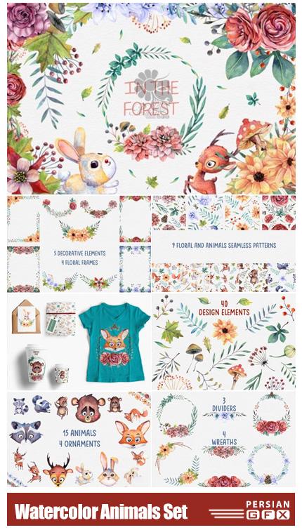 دانلود کلیپ آرت عناصر طراحی آبرنگی حیوانات شامل فریم، بت و جقه، حیوانات کارتونی و ... - Watercolor Animals Set