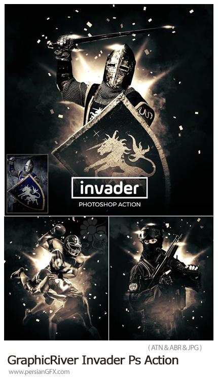 دانلود اکشن فتوشاپ ایجاد افکت مهاجم بر روی تصاویر - GraphicRiver Invader Photoshop Action