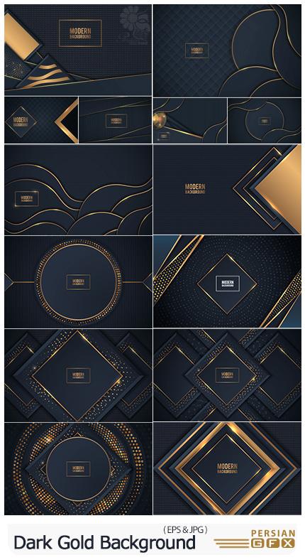 دانلود مجموعه بک گراندهای مشکی و طلایی لاکچری - Dark Gold Background With Overlap Layer