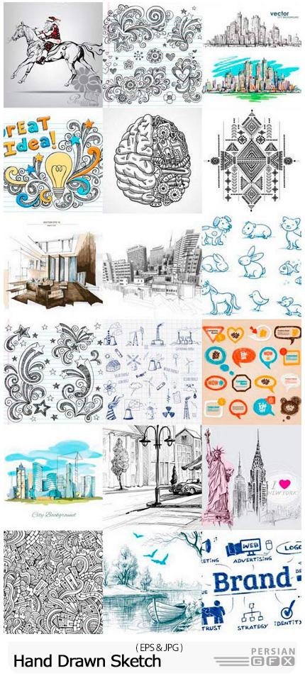 دانلود مجموعه طرح و نقاشی اسکچ فانتزی - Hand Drawn Sketch
