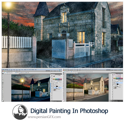دانلود آموزش نقاشی دیجیتال در فتوشاپ: روز تا شب - Lynda Digital Painting In Photoshop Day For Night