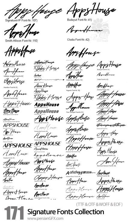 دانلود 171 فونت انگلیسی دست خط و امضا - 171 Signature Fonts Collection