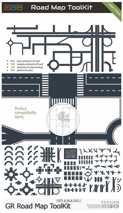 دانلود کیت طراحی جاده و مسیر برای نقشه - GraphicRiver Road Map ToolKit