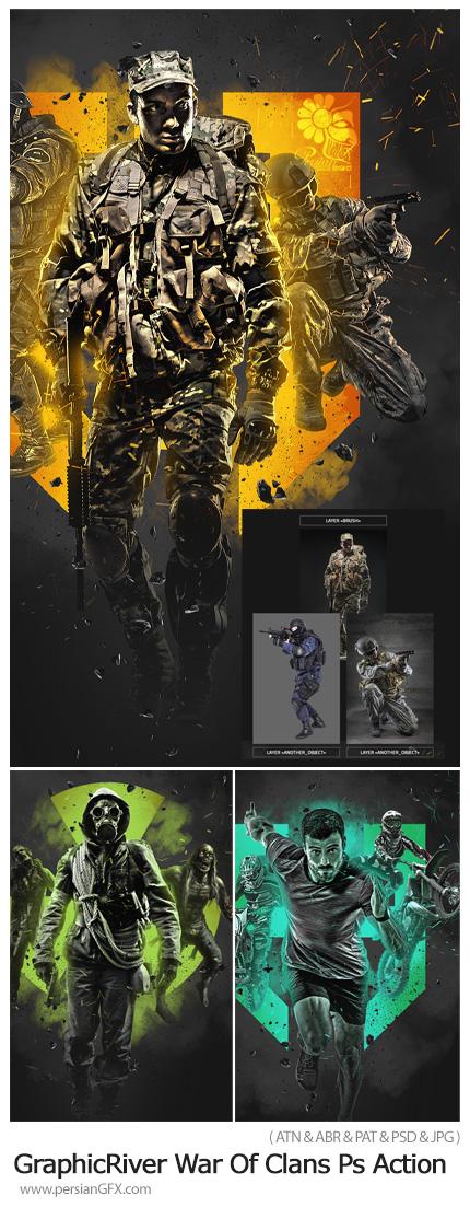 دانلود اکشن فتوشاپ ساخت پوستر جنگی از تصاویر به همراه آموزش ویدئویی - GraphicRiver War Of Clans Photoshop Action