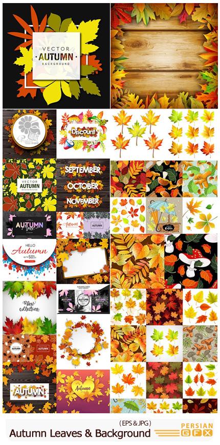 دانلود وکتور بک گراند های رنگارنگ برگ های پاییزی - Autumn Leaves And Mushrooms Colourful Background