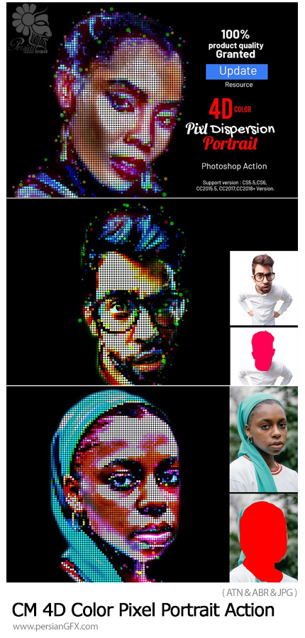 دانلود اکشن فتوشاپ ساخت پرتره پیکسلی رنگی 4 بعدی - CreativeMarket 4D Color Pixel Portrait Action