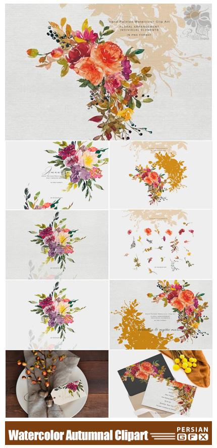 دانلود کلیپ آرت عناصر آبرنگی پاییزی شامل گل و بوته، حلقه گل و بک گراند - Watercolor Autumnal Bouquet And Colors Floral Clipart