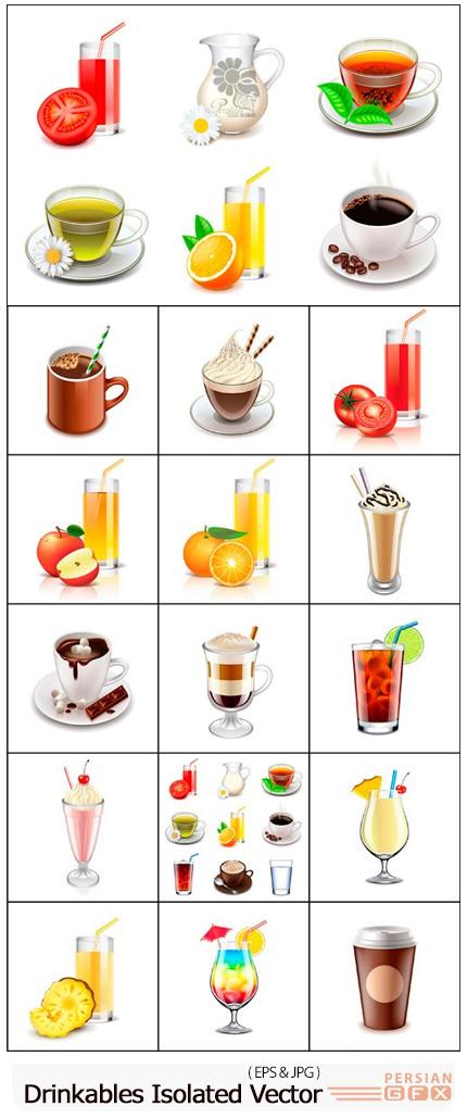 دانلود وکتور نوشیدنی های مختلف بدون بک گراند شامل آبمیوه، بستنی، قهوه و ... - Drinkables Isolated On White Vector
