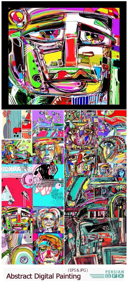 دانلود مجموعه وکتور نقاشی های هنری با طرح های انتزاعی - Original Abstract Digital Painting