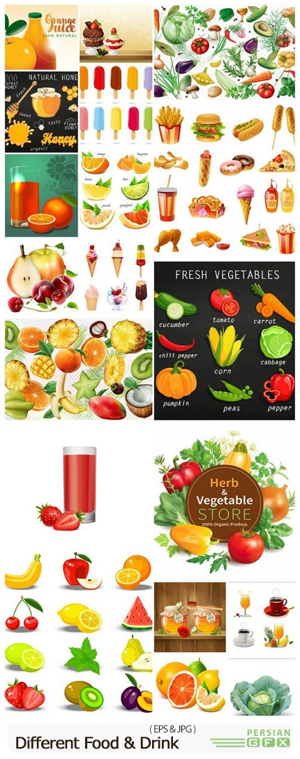 دانلود مجموعه وکتور مواد غذایی و نوشیدنی شامل فست فود، سبزیجات، میوه و ... - Different Food And Drink Collection
