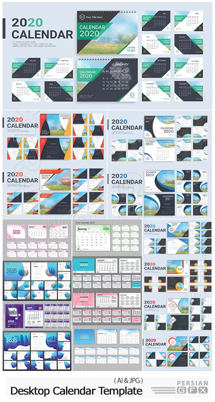 دانلود انواع تقویم رومیزی متنوع - Desktop Calendar 2020 Template