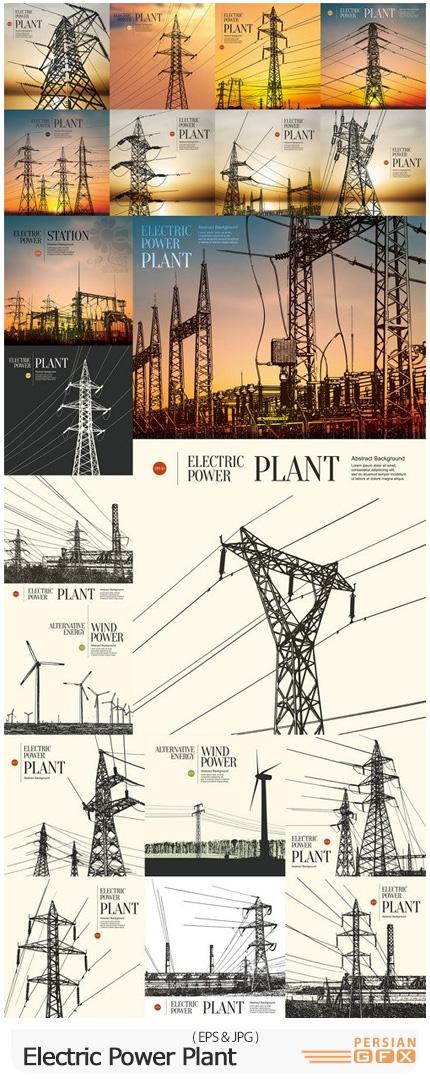 دانلود وکتور بک گراند های نیروگاه برق و دکل های برق - Abstract Sketch Stylized Background Electric Power Plant