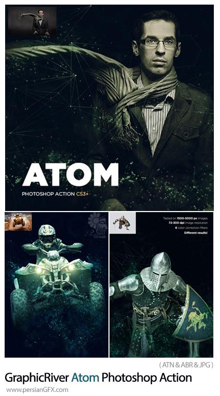 دانلود اکشن فتوشاپ ایجاد افکت پیوندهای اتمی بر روی تصاویر به همراه آموزش ویدئویی - GraphicRiver Atom Photoshop Action