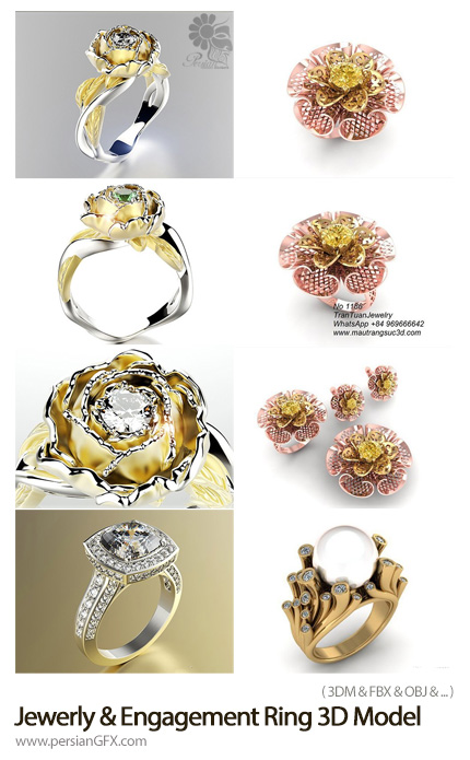 دانلود مدل های سه بعدی حلقه و انگشتر نامزدی با طرح های متنوع - Cgtrader Jewerly And Engagement Ring 3D Print Model