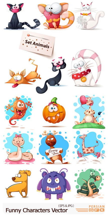 دانلود وکتور حیوانات کارتونی بامزه - Funny Characters Vector Graphics
