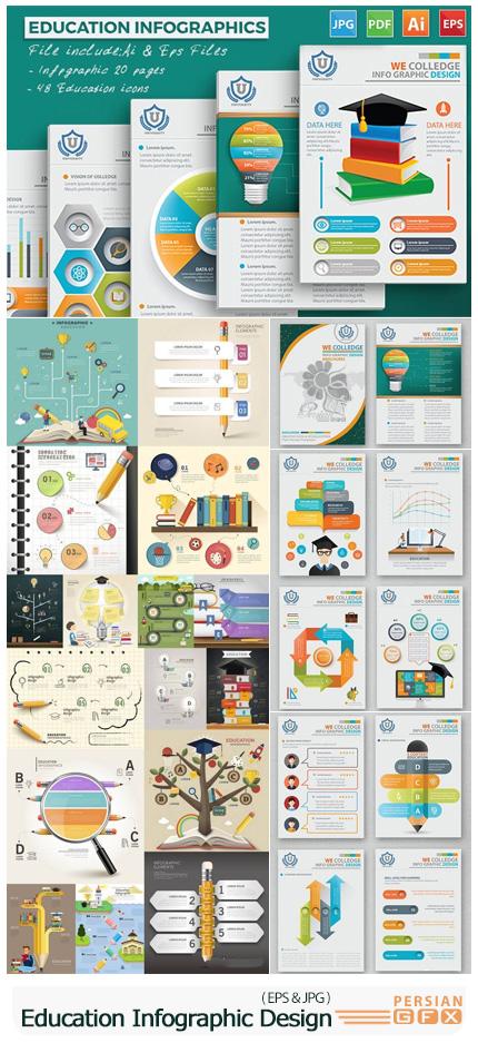 دانلود وکتور نمودارهای اینفوگرافیکی آموزشی - Education Infographic Design