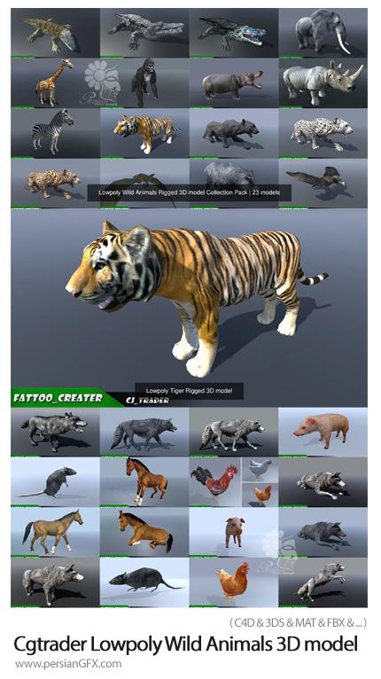 دانلود مجموعه مدل های آماده سه بعدی حیوانات وحشی ریگ بندی شده - Cgtrader Lowpoly Wild Animals Rigged 3D model Collection Pack