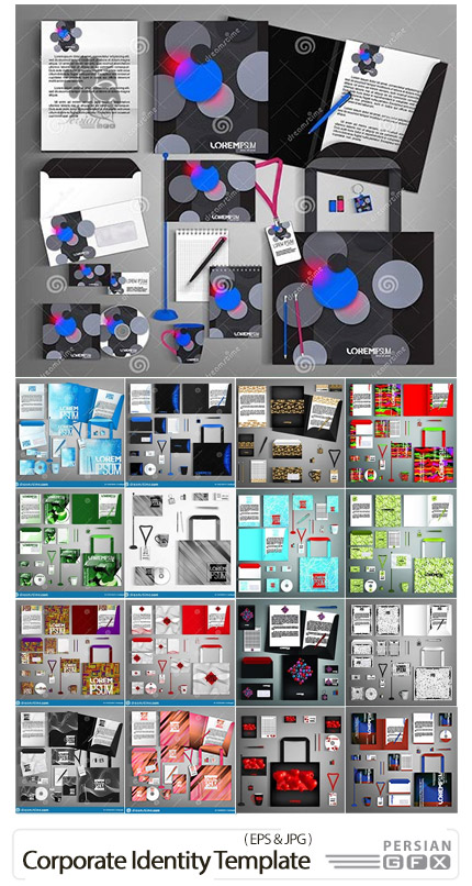 دانلود مجموعه وکتور ست اداری رنگارنگ شامل کارت ویزیت، پاکت نامه، سربرگ و ... - Corporate Identity Template With Colorful Design