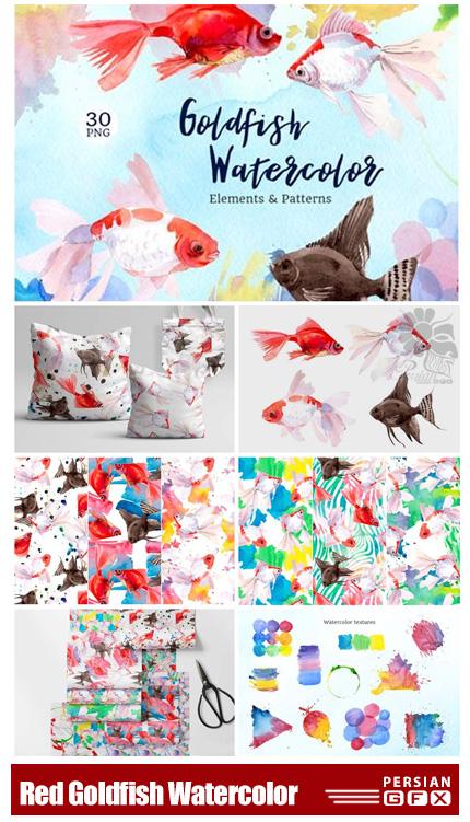 دانلود عناصر آبرنگی ماهی قرمز شامل پترن، فریم و ... - Fairytale Red Goldfish Watercolor