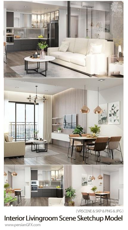 دانلود مجموعه مدل های سه بعدی آشپزخانه، اتاق خواب و سالن پذیرایی - Interior Livingroom Scene Sketchup Model By TrucNguyen