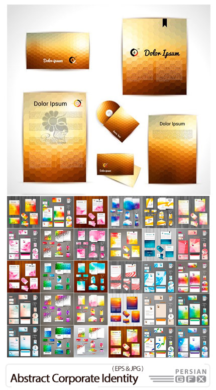 دانلود وکتور ست اداری شامل کارت ویزیت، سربرگ، بروشور و ... با طرح های انتزاعی - Abstract Corporate Identity Template