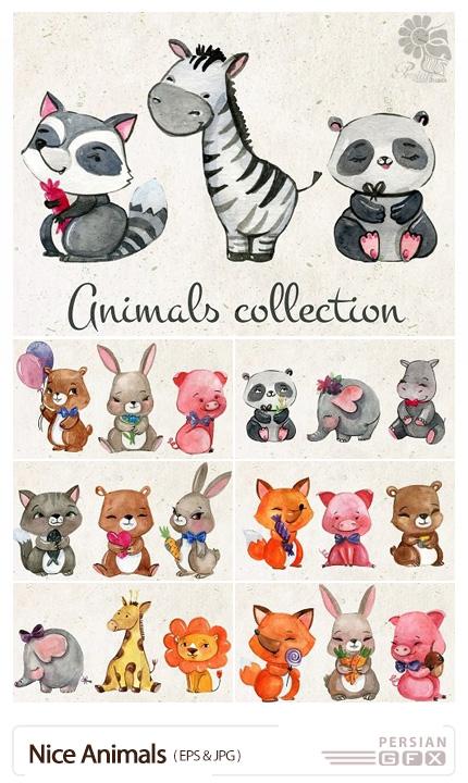 دانلود وکتور حیوانات کارتونی زیبا - Nice Animals