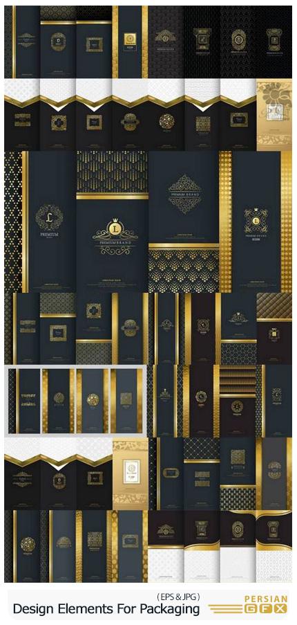 دانلود مجموعه وکتور المان های گرافیکی، فریم، آیکون و لیبل برای طراحی بسته بندی محصولات لوکس - Collection Of Design Elements For Packaging Design Of Luxury Products