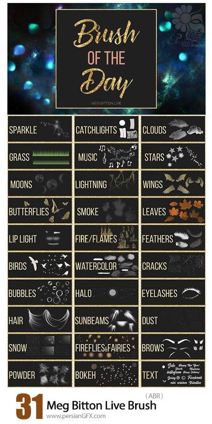 دانلود مجموعه براش فتوشاپ شامل برگ، دود، بوکه، پرنده، نور، آبرنگ و ... - Meg Bitton Live Brush Of The Day