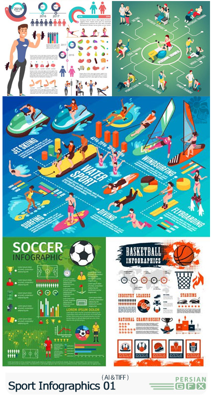دانلود وکتور نمودارهای اینفوگرافیکی اسپرت - Vectors Sport Infographics Backgrounds 01