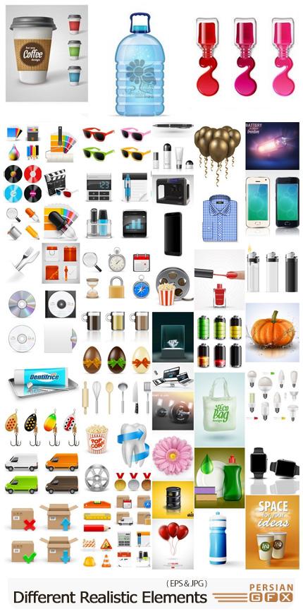 دانلود مجموعه وکتور المان های گرافیکی واقع گرایانه - Different Realistic Design Elements