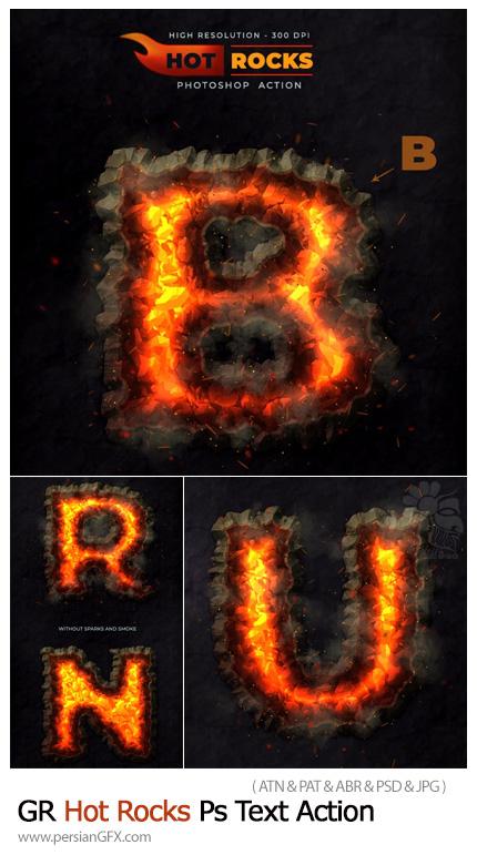 دانلود اکشن فتوشاپ تبدیل حروف به سنگ آتشین - GraphicRiver Hot Rocks Photoshop Text Action