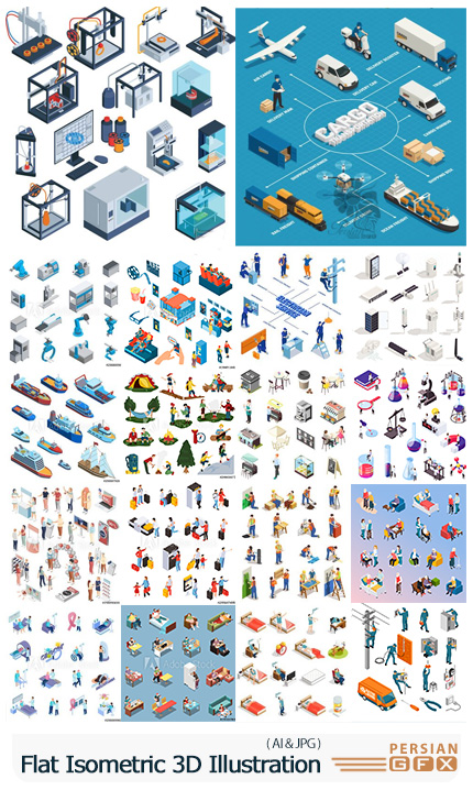 دانلود مجموعه وکتور المان های ایزومتریک سه بعدی - Flat Isometric Vector 3D Concept Illustration