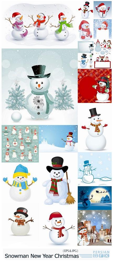 دانلود وکتور آدم برفی تزئینی برای کریسمس - Snow Snowman Doll Decoration New Year Christmas