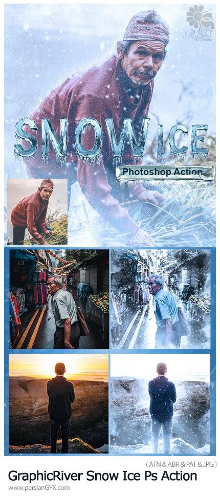 دانلود اکشن فتوشاپ ایجاد افکت برف یخی بر روی تصاویر به همراه آموزش ویدئویی - GraphicRiver Snow Ice Photoshop Action