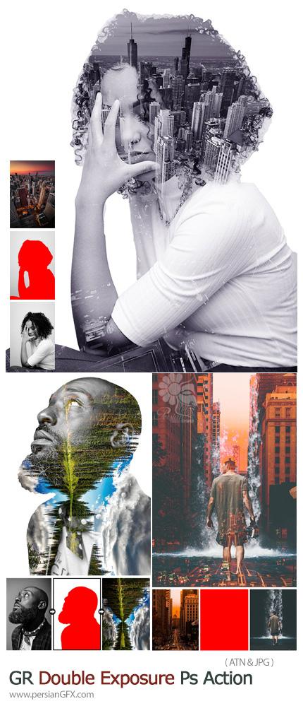 دانلود اکشن فتوشاپ ساخت تصاویر دابل اکسپوژر به همراه آموزش ویدئویی - GraphicRiver Double Exposure Photoshop Action