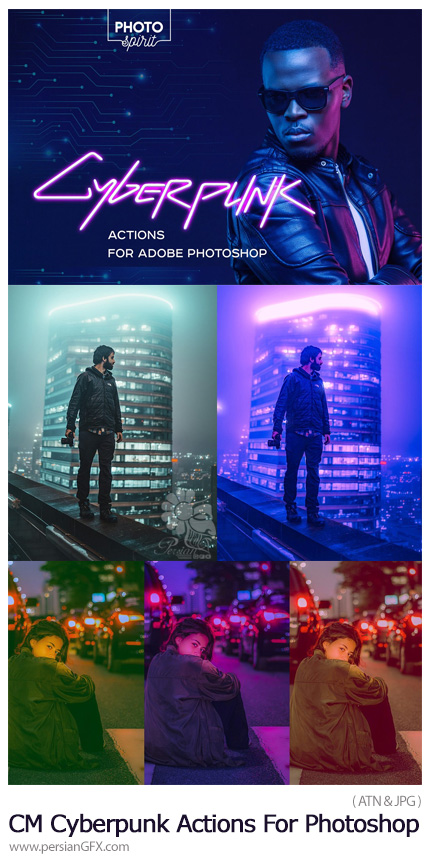 دانلود اکشن فتوشاپ ایجاد افکت نورهای نئونی به سبک سایبرپانک بر روی تصاویر - CreativeMarket Cyberpunk Actions For Photoshop
